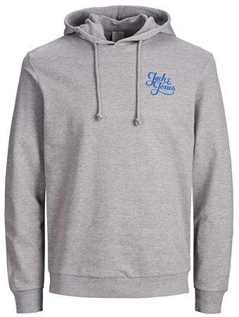 Jack&Jones Pánská mikina Jorgalions Sweat Hood Brushed Light Grey Melange (Velikost S)