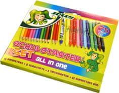 Jolly otroški set Schulstarter, 11 barvic, 11 flomastrov, 2 svničnika, brisalec