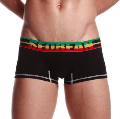 SEOBEAN čierne boxerky Flag s farebnou gumou v páse - Velikost: S