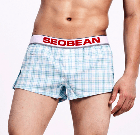 SEOBEAN modro-biele kockované voľné trenírky - Velikost: L