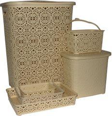 MEGA PLAST Set Monako (koš na prádlo + koš na kolíčky + koš na prášek + košíčky)