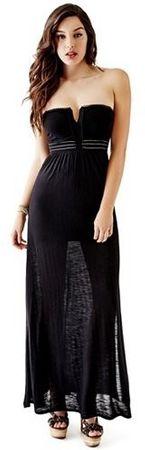 Guess Dámske šaty Strap less Applique Maxi Dress Black (Veľkosť L)