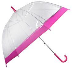 Blooming Brollies Dámský průhledný holový deštník Clear Dome Pink EDSCDPIN