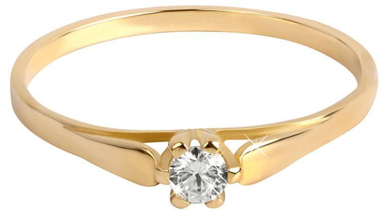 Brilio Zlatý zásnubní prsten se zirkonem 226 001 00992 (Obvod 55 mm) zlato žluté 585/1000