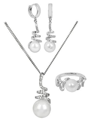 3d212794c Silver Cat Souprava šperků s pravou perlou + řetízek zdarma (Obvod 54 mm)  stříbro 925/1000 | MALL.CZ