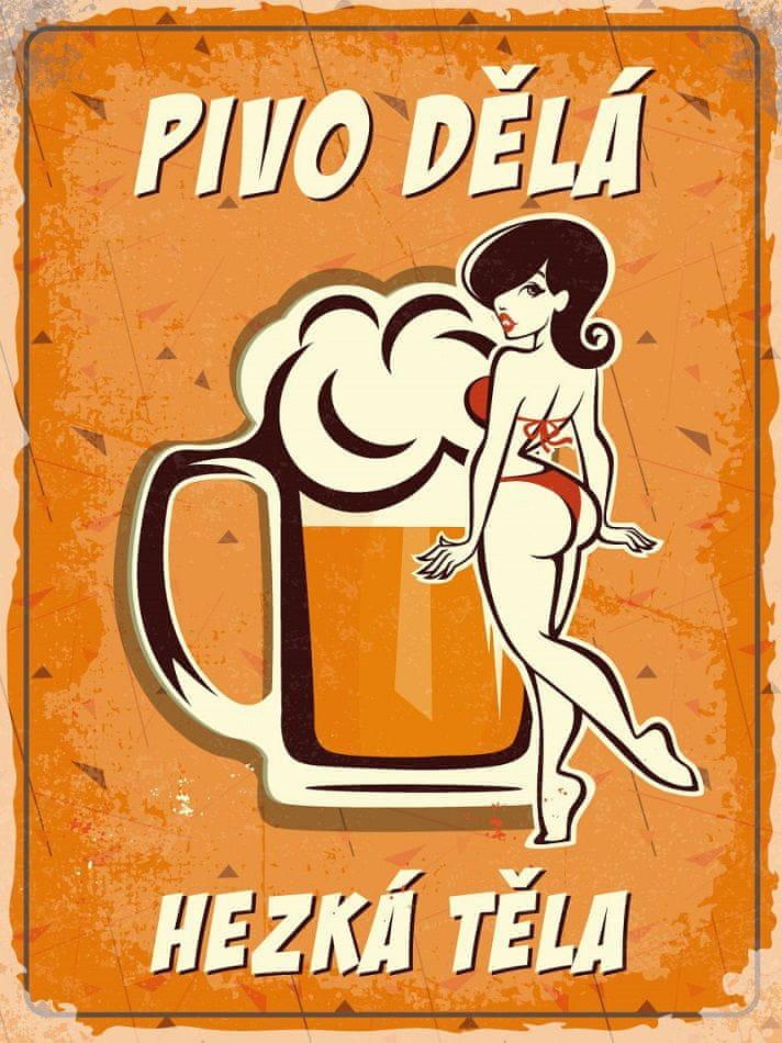 Postershop Plechová cedule - Pivo dělá hezká těla (1)