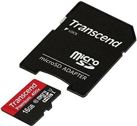 Transcend Micro SDHC Premium 400x 16GB UHS-I + SD adaptér (TS16GUSDU1)