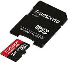 Transcend micro SDHC pomnilniška kartica 16GB1UHS-I + adapter (TS16GUSDU1)