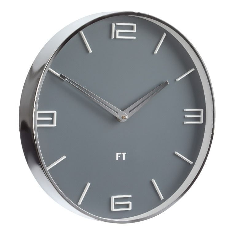 Future Time Designové nástěnné hodiny FT3010GY Flat grey 30cm
