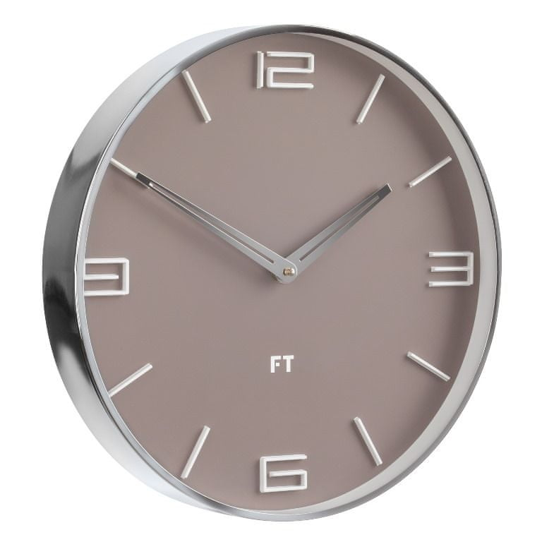 Future Time Designové nástěnné hodiny FT3010BR Flat café latte 30cm