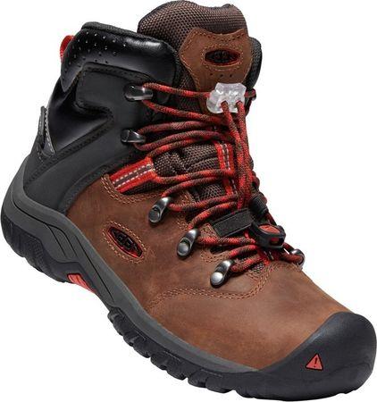 KEEN fantovski pohodniški čevlji Torino II Mid WP tortoise shell/firey red, 36, rjavi