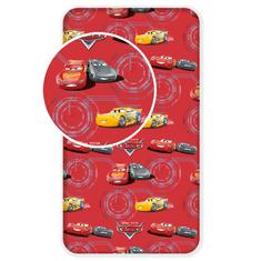 Jerry Fabrics Bavlněné prostěradlo Cars red 02 90x200+25 cm