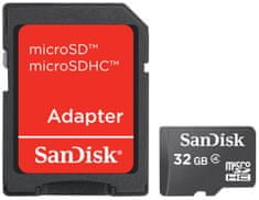 SanDisk Micro SDHC 32GB Class 4 + SD adaptér (SDSDQB-032G-B35)