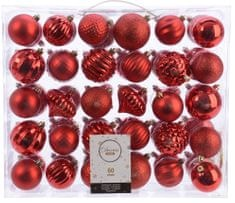 Kaemingk Set 60 ks vánočních ozdob - červené