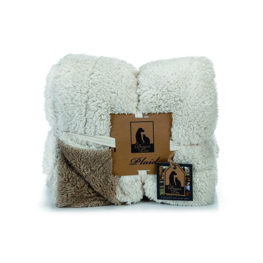 Designed by Lotte DBL béžovo-hnědá deka pro psy 150 x 125 cm