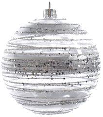 Kaemingk Set 12 ks vánočních ozdob - pruhované se třpytkami, 8 cm