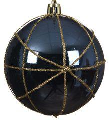 Kaemingk Set 12 ks vánočních ozdob s pruhy ze zlaté stuhy, tm. modré
