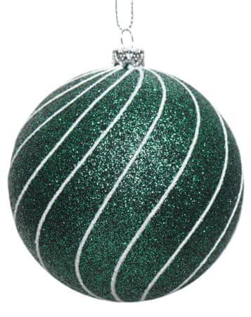 Kaemingk Set 12 ks vánočních ozdob se stříbrnými pruhy, tm. zelená