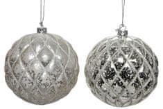 Kaemingk Set 12 ks vánočních ozdob s reliéfem, stříbrné, cca 8 cm