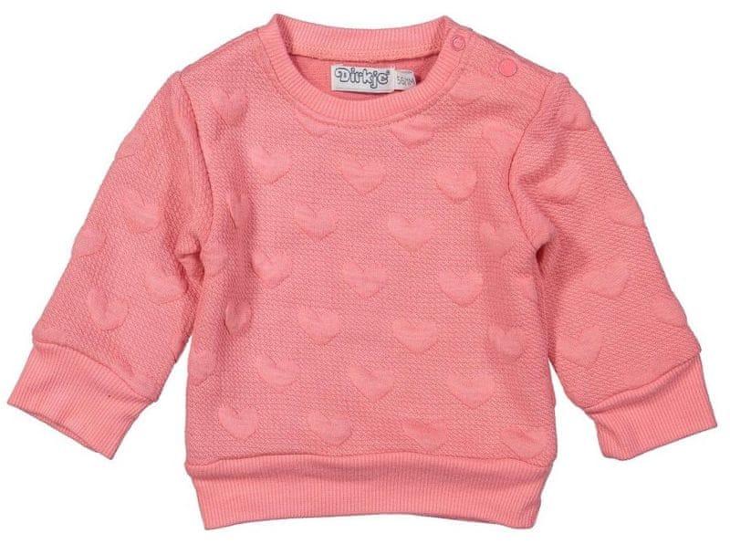Dirkje dívčí mikina se srdíčky 98 růžová