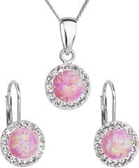 Evolution Group Csillogó ékszer készlet 39160.1 & rózsaszín opál ezüst 925/1000