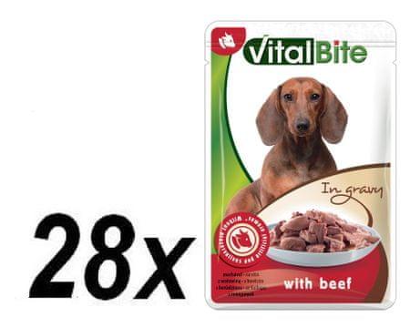 VitalBite hrana za pse z okusom govejega mesa, 28 x 85 g