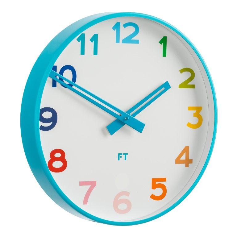 Future Time Dětské nástěnné hodiny FT5010BL Rainbow blue 30cm