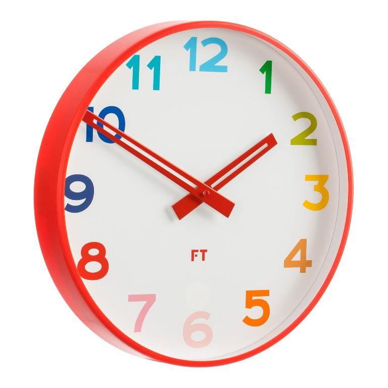 Future Time Dětské nástěnné hodiny FT5010RD Rainbow red 30cm