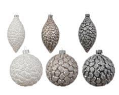 Kaemingk Set 12 ks vánočních ozdob bílé, béžové, šedé, sklo