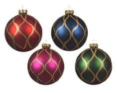 Kaemingk Set 12 ks vánočních ozdob se zlatou linkou ve 4 provedeních