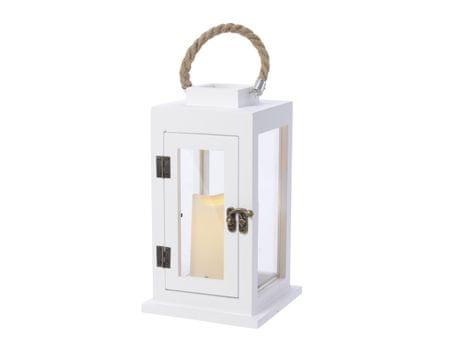 Kaemingk LED svetelná drevená lucerna, 14x14x25cm, biela