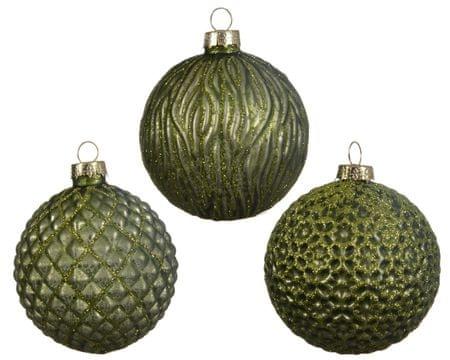 Kaemingk 3 darabos karácsonyfadísz készlet, domborzattal, olivazöld, üveg