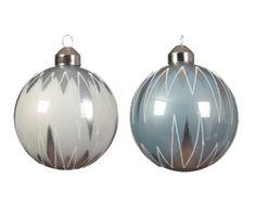 Kaemingk Set 12 ks vánočních ozdob, bílá, sv. modrá, skleněné