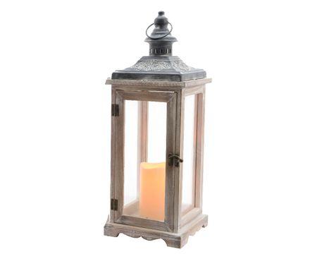 Kaemingk LED svetelná lucerna, 17x17x45cm, šedá