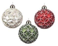 Kaemingk Set 12 ks vánočních ozdob, bílá, zelená, červená, skleněné