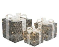 Kaemingk LED světelná dekorace - set 3ks ratanových dárků
