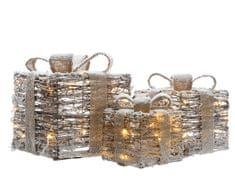 Kaemingk LED světelná dekorace - set 3ks ratanových dárků (zasněžených)