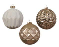 Kaemingk Set 12 ks vánočních ozdob s reliéfem, bílé, zlaté, skleněné
