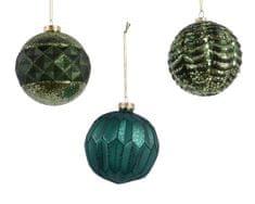 Kaemingk Set 12 ks vánočních ozdob s reliéfem, zelené, petrolejové, skleněné