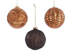 Kaemingk Set 12 ks vánočních ozdob s reliéfem, zlaté, čokoládové, skleněné