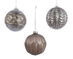 Kaemingk Set 12 ks vánočních ozdob s reliéfem, stříbrné, kašmírové, skleněné
