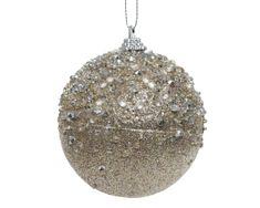 Kaemingk Set 12 ks vánočních ozdob s kamínky, 8 cm, natural linen