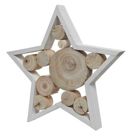 """Kaemingk Vánoční dekorace """"Hvězda"""" ze dřeva paulownie"""