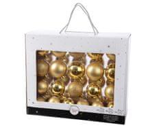 Kaemingk Set 42ks vánočních ozdob, mix: 7cm, 6cm, 5cm, lesklé, matné - zlaté