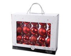 Kaemingk Set 42ks vánočních ozdob, mix: 7cm, 6cm, 5cm, lesklé, matné - červené