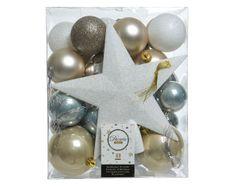 Kaemingk Set 33 ks vánočních ozdob včetně špičky, plast, bílé