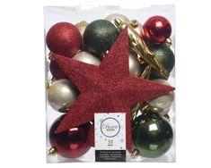 Kaemingk Set 33 ks vánočních ozdob včetně špičky, plast, červené