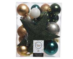 Kaemingk Set 33 ks vánočních ozdob včetně špičky, plast, tmavě zelené
