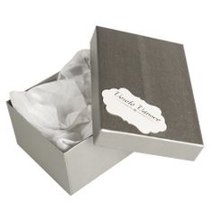 Giftisimo Box Hana 1 stříbrný natur 18x12,5x8 cm se jmenovkou a hedvábným papírem