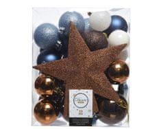 Kaemingk Set 33 ks vánočních ozdob včetně špičky, plast, hnědé